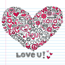 Jour Sketchy Notebook Doodles Vector Heart Valentine d'amour