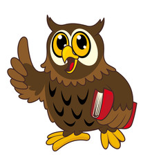 Cartoon owl bird with book
