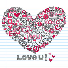 Heart Love Valentine's Day Sketchy Notebook Doodles Vector