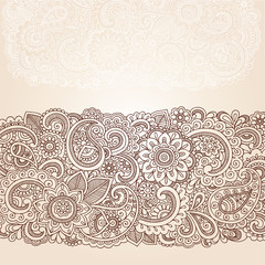 Ornate Henna Paisley Doodle Vector Design Elements