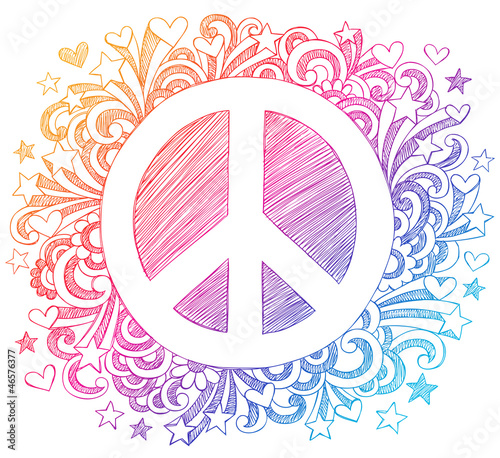 Peace Sign Sketchy Notebook Doodles Vector
