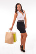 beautifulwoman with two shopping bags