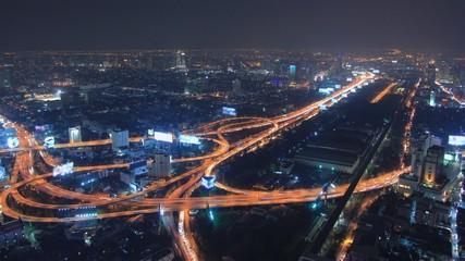 Bangkok Expressway and Highway top view at dusk, Thailand