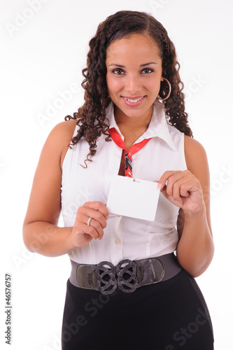 hostess showing her badge