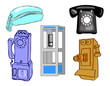 Full page of vector telephones and booth