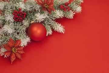 Christmas composition on red silk for greeting card