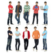 Collage of several stylish young standing in different poses