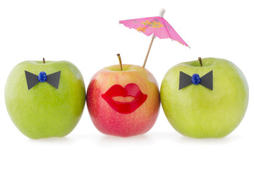 Three apples as a  concept of competition between two male