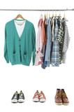 Mix color Shirt on Hangers and Sport shoes