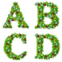 High resolution conceptual Christmas fonts with ornaments