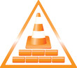 triangular warning construction sign with bricks