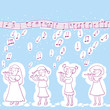 Little Girls Playing Flute Pattern.