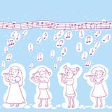 Little Girls Playing Flute Pattern.