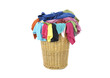 full of colorful t-shirts in a wicker basket,