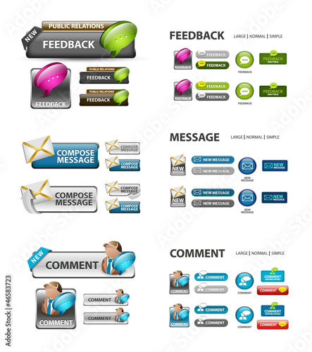 feedback, and message icons / collection of vector icons