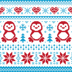 Christmas knitted pattern, card - scandynavian sweater