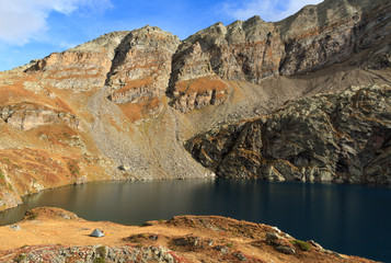 Campsite at a mountain lake