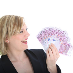 Blonde woman with lots of cash