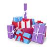 Viele bunte verpackte Geschenke