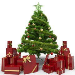 Christmas Tree and Gifts. Over white background2. © Soulline