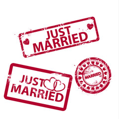 Vector just married stamps