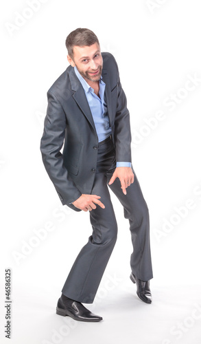 Full length portrait of cheerful business man