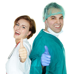 Young students for medicine having thumbs up