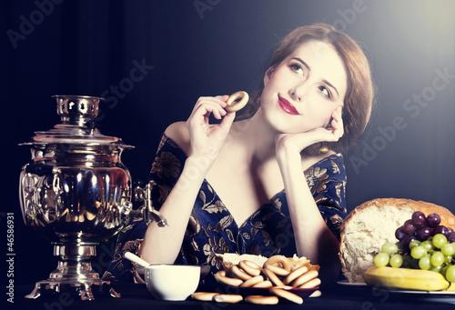 Portrait of beautiful rich russian women.