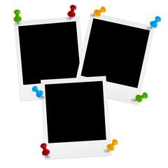 3 Polaroids mit Pins