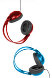 A pair of colored headphones