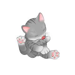 17 graues Katzenbaby putzt sich