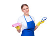 female cleaner in blue apron