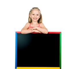beautiful little girl on a board