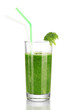 Green vegetable juice in glass isolated on white