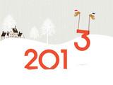 Fototapety Birds bringing the 2013, happy new year