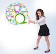 Young business woman presenting colourful speach bubble