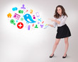 Young business woman presenting colourful social icons