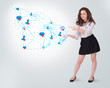 Young business woman presenting social map