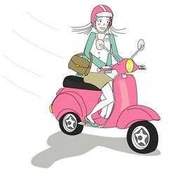 Femme moderne scooter rose