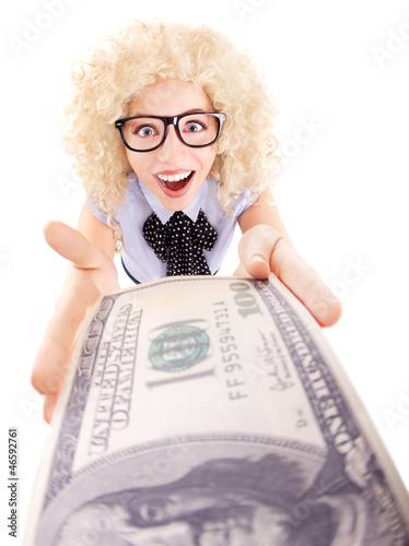 Spending money concept, happy woman holding hundred dollar bill