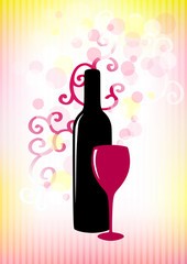 Bottle of red wine and glass on pink-yellow background.