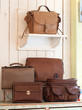 Set of beautiful leather bag and handbag