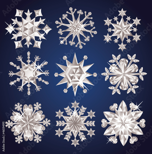 Set of diamond snowflakes.