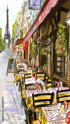 Fotobehang Getrokken Parijs Paris street - illustration