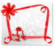 Holiday background with red gift bow with gift boxes