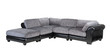 Grey and black genuine leather sofa bench isolated on white