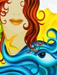 viso di donna con capelli castani