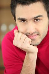 Close-up shot of a young man