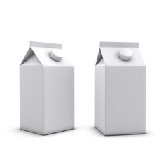 3d Two short milk cartons with lids