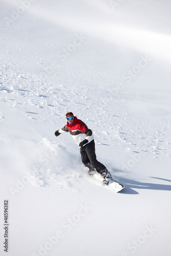 Man practicing snowboard